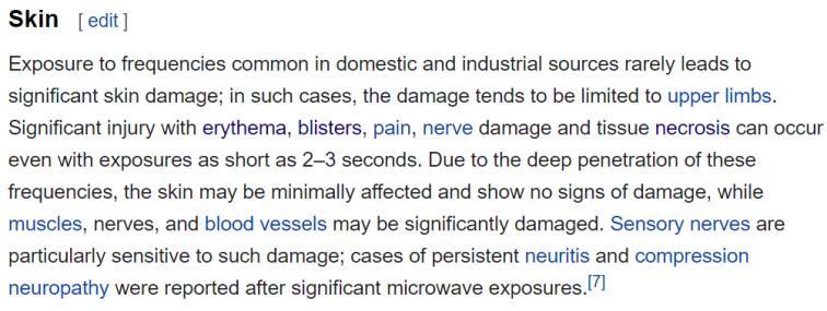 microwaves on skin
